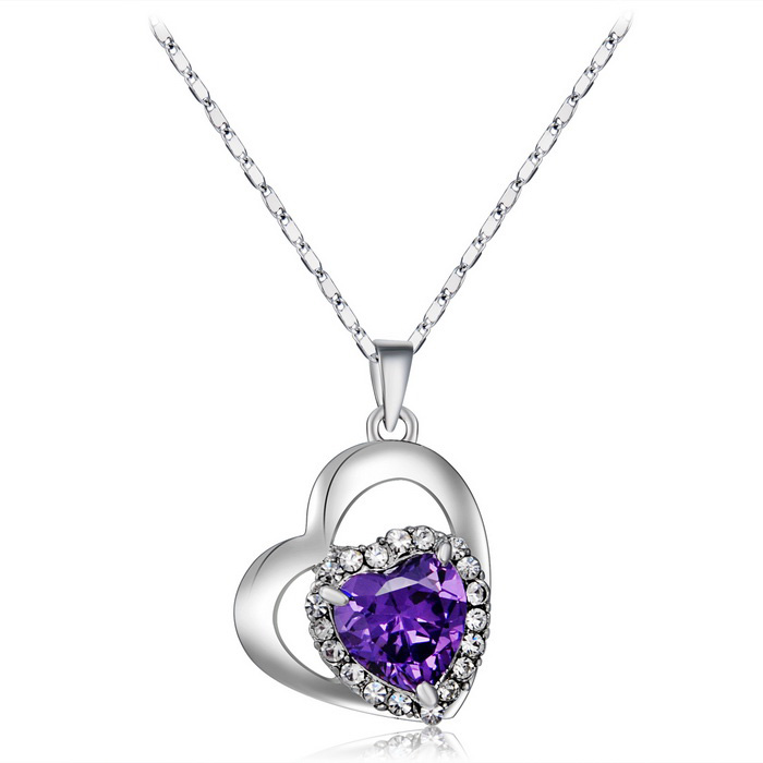 Xinguang Women's Love Heart Style Crystal Necklace - Silver + Purple