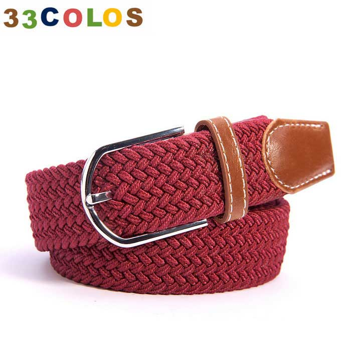 Unisex simples Elastic Weave Belt - Deep Red (NO.3)