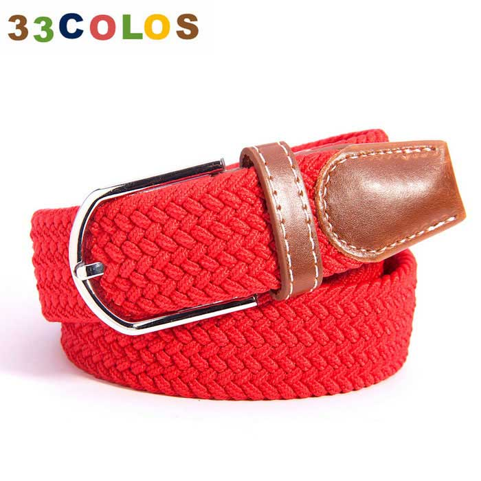 Unisex Simple Elastic Weave Belt - Red (NO.10)