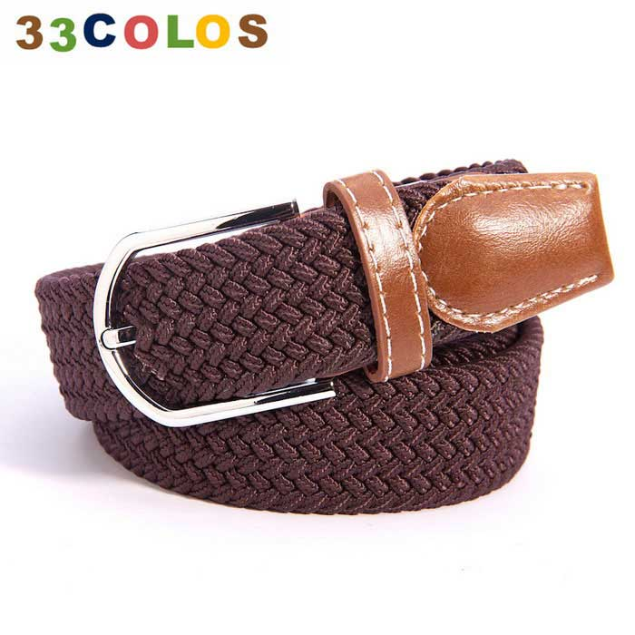 Unisex Simple Elastic Weave Belt - Rufous (NO.9)