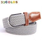 Unisex Simple Elastic Weave Belt - Grayish White (NO.8)