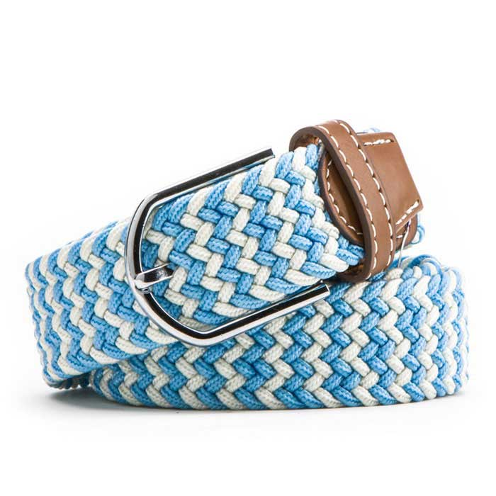 Unisex Simple Elastic Weave Belt - Light Blue + White (NO.37)