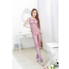 Sexy Spaghetti Straps Open Crotch Netting Jumpsuit Underwear Lingerie Sleepwear - Purple