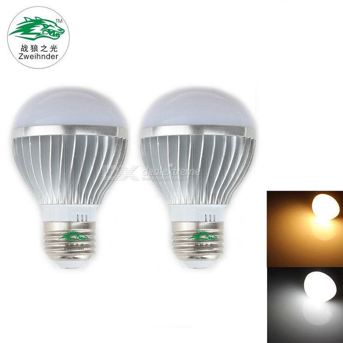 Zweihnder E27 3W 280lm 3000/6000K 6x5730 SMD Dual Color Temperature Bulb Light (AC 85-265V / 2PCS)
