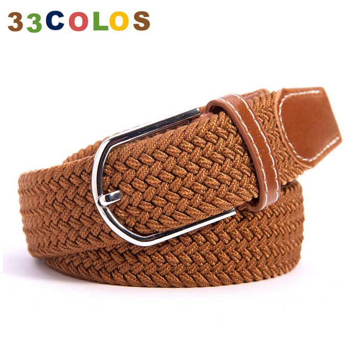 Unisex Simple Elastic Weave Belt - Coffee (NO.1)