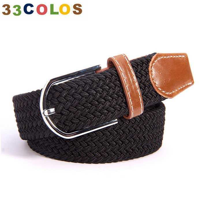 Unisex Simple Elastic Weave Belt - Black (NO.6)