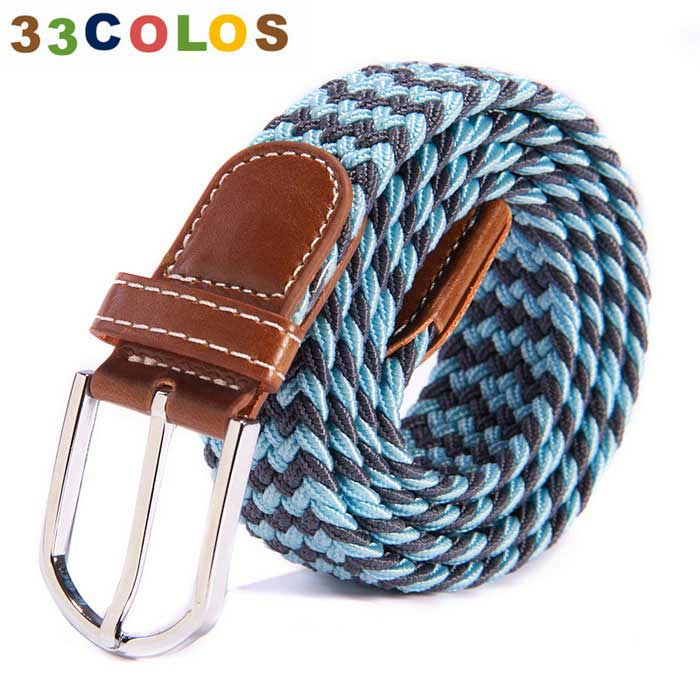 Unisex Simple Elastic Weave Belt - Blue + Black (NO.11)