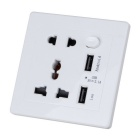 Wall Power Socket Multi-Function Charger Adapter w/ Dual USB Slot - White (90-250V)