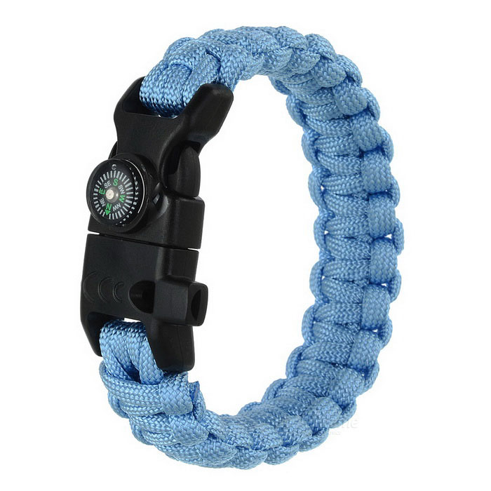 Outdoor Survival Parachute Cord Bracelet w/ Flintstone / Whistle / Compass / Scraper - Sky Blue