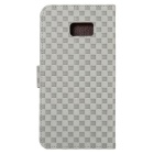 Gird Pattern PU+TPU Wallet Case for Samsung Galaxy S6 Edge Plus - Grey