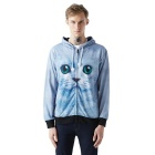 Fashionable 3D Cat Printing Polyester Hooded Jacket Coat - Light Blue + Multi-Color (Size XL)