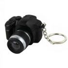 Exquisite Simulation SLR Camera White Light Mini LED Flashlight Keychain - Black + Silver (2 x LR44)