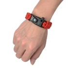 Outdoor Survival Camping Parachute Cord Bracelet w/ Flintstone / Whistle / Compass / Scraper - Red