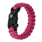Outdoor Survival Parachute Cord Bracelet w/ Flintstone / Whistle / Compass / Scraper - Deep Pink