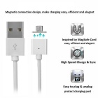Magnetic Micro USB to USB 2.0 Data Sync & Charging Cable - White