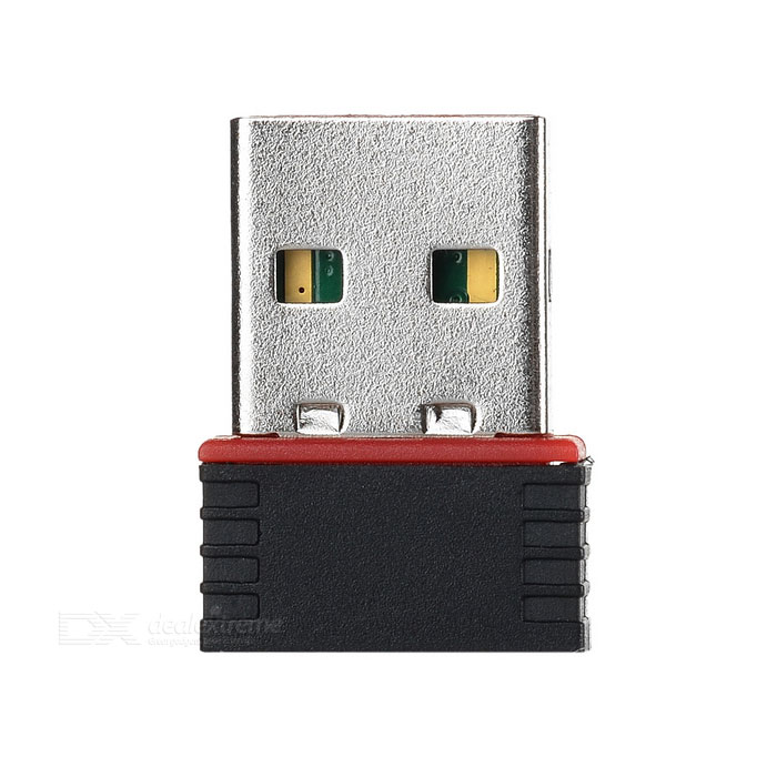 Mini USB 2.0 Wi-Fi 100Mbps Network CardNetwork Cards<br>Form  ColorBlackQuantity1 setMaterialStainless steel + ABSShade Of ColorBlackFrequency Range2.4-2.4835GHzInterfaceUSB 2.0,USB 1.1Transmission Rate100 MbpsNetwork ProtocolsIEEE 802.11n,IEEE 802.11b,IEEE 802.11gAntennaBuilt-inSupports SystemOthers,windows xp/xp64/vista, windows 7/windows 7 x64, MAC OSPacking List1 x Mini network card<br>