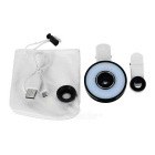 Clip-on Macro + Fish Eye Camera Lens Kit w / 3-Mode 12-LED Wide Angle + Luz de preenchimento - Black + White