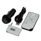 "0.65"" 3.5mm FM Transmitter MP3 Stereo Music Player Adapter w/ Car Charger & Remote Control - Silver"