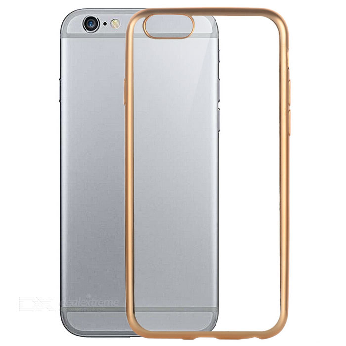 Ultra-Thin Electroplating Protective TPU Back Case Cover for IPHONE 6 / 6S - Rose Gold + Transparent