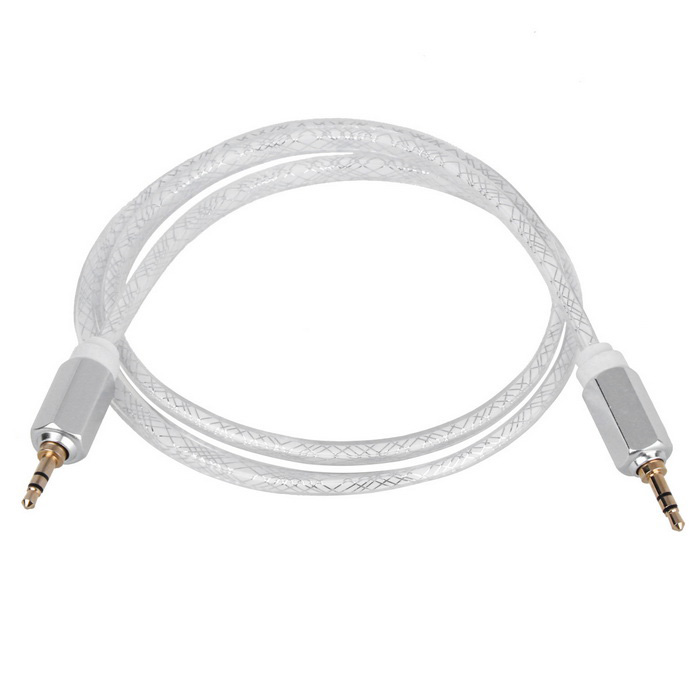 Hexagonal Tipo 3.5mm macho a macho Line-in Audio Cable Aux - Plata (100cm)