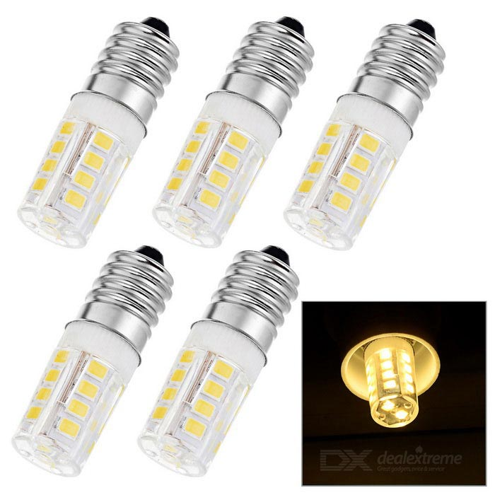 E14 3W LED Bulb Lamp Warm White Light 3000K 270lm 26-SMD 2835 (AC 220V / 5PCS)E14<br>Form  ColorWhite + Yellow + Multi-ColoredColor BINWarm WhiteMaterialHigh conductivity ceramic + PCQuantity5 DX.PCM.Model.AttributeModel.UnitPower3WRated VoltageAC 220 DX.PCM.Model.AttributeModel.UnitConnector TypeE14Chip Type2835 SMDEmitter TypeOthers,2835 SMD LEDTotal Emitters26Theoretical Lumens270 DX.PCM.Model.AttributeModel.UnitActual Lumens270 DX.PCM.Model.AttributeModel.UnitColor Temperature3000KDimmableNoBeam Angle360 DX.PCM.Model.AttributeModel.UnitPacking List5 x Bulbs<br>