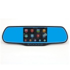 "KP815 5"" HD Touch Screen CMOS Android 4.4 Dual-Camera Car Rearview Mirror DVR w/ GPS / Wi-Fi / FM/AV"