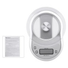 "1.7"" LCD 5KG Kitchen Digital Electronic Balance Scale w/ Clock / Countdown - Silvery White"