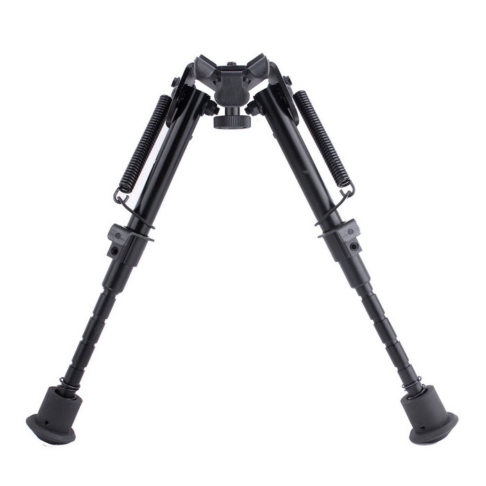 ACCU New Goedkope Aluminium Spring Loaded Retractable Bipod-zwart