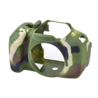 Durable Protective Silicone Case Cover Housing Cage for Canon 600D DSLR Cameras - Green Camo