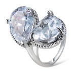 Xinguang Women's Dual Water Drops Style Crystal Finger Ring - Silver (US Size 8)