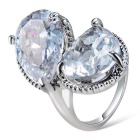 Xinguang Women's Dual Water Drops Style Crystal Finger Ring - Silver (US Size 9)