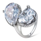 Xinguang Vrouwen Dual Water Drops Style Crystal Finger Ring - Zilver (US Maat 7)