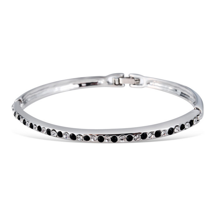 Xinguang Women's Fashionable Rhinestones & Crystal Studded Bracelet - Silver