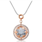 Xinguang Women's Simple Round Crystal Necklace - Rose Gold + White