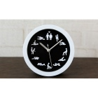 Creative Fashionable Desk Table Mute Silent Alarm Clock - White + Black