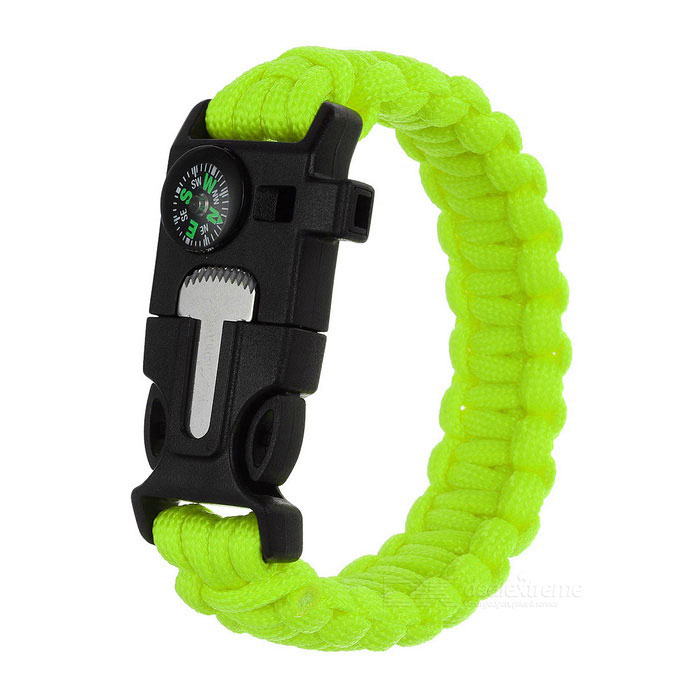 Outdoor Survival Camping Parachute Cord Bracelet w/ Flintstone / Whistle / Compass / Scraper - GreenFire Starting Gear<br>Form ColorGreenQuantity1 DX.PCM.Model.AttributeModel.UnitMaterial550 tension paracord + ABSBest UseBackpacking,Camping,TravelPacking List1 x Bracelet<br>