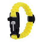 Outdoor Survival Camping Parachute Cord Bracelet w/ Flintstone / Whistle / Compass / Scraper -Yellow