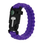 Outdoor Survival Parachute Cord Bracelet w / Flintstone / Whistle / Compass / Scraper - roxo