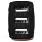 Universal 5V / 3A 3-Port USB Car Charger Power Adapter for Cellphone / Tablet PC - Black + Brown