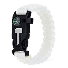 Outdoor Survival Camping Parachute Cord Bracelet w/ Flintstone / Whistle / Compass / Scraper - White