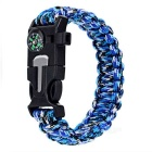 Outdoor Survival Camping Parachute Cord Bracelet w/ Flintstone / Whistle / Compass / Scraper - Blue