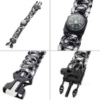 Outdoor Survival Parachute Cord Bracelet w/ Flintstone / Whistle / Compass / Scraper - Black + White