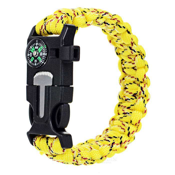 Outdoor Survival Camping Parachute Cord Bracelet w/ Flintstone / Whistle / Compass / Scraper -YellowFire Starting Gear<br>Form  ColorYellow camouflage Quantity1 DX.PCM.Model.AttributeModel.UnitMaterial550 tension paracord + ABSBest UseBackpacking,Camping,Mountaineering,TravelPacking List1 x Bracelet<br>