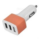 Universal 5V / 3A 3-Port USB Car Charger Power Adapter for Cellphone / Tablet PC -White + Pink Brown