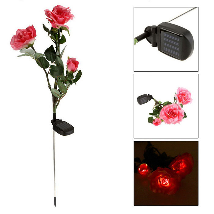Power Saving Full Solar Air Water-Resistant 3 Roses Style LED Lights Landscape Lights - Green + Pink