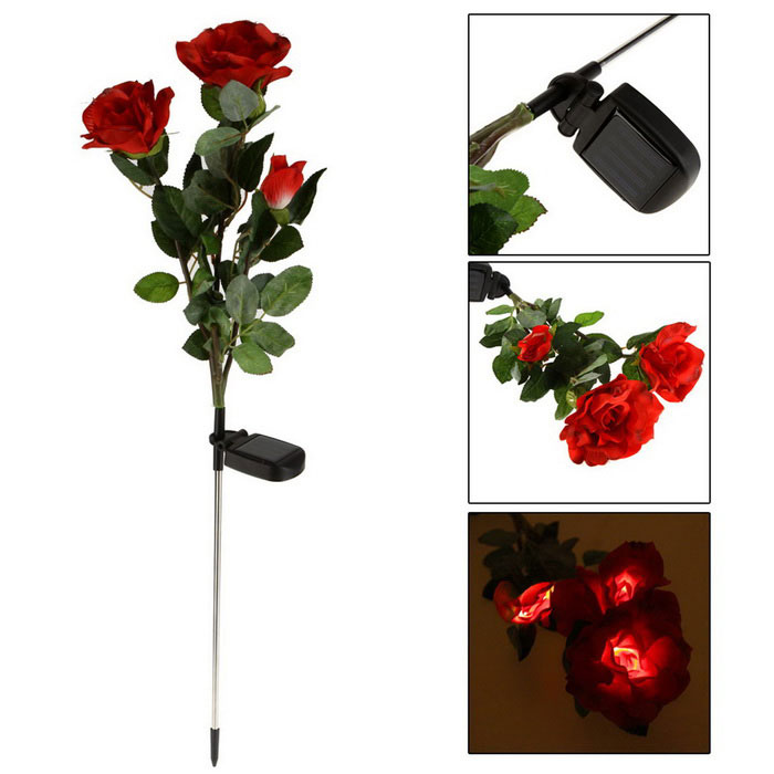 Energiespar voller Sonnen Air Water-Resistant 3 Rosen-Art-LED-Leuchten Landschaft Lights - Grün + Rot
