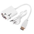 1080P HDMI Male to VGA Female Converter Adapter w/ 3.5mm Audio Cable - White (20cm)