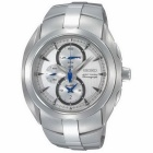 Seiko SNAC15P1 Men's ARCTURA Quartz Silver Dial Chronograph Alarm WR100M Watch without Box - White