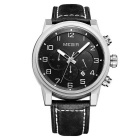 MEGIR Men's Business Genuine Leather Belt Quartz Watch w/ 3 Sub-Dials / Calendar - Black + Silver