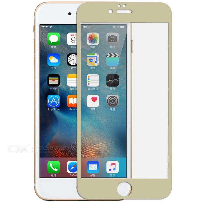 Electroplating Mirror Tempered Glass Screen Protector for IPHONE 6 / 6S PLUS - Gold + Transparent